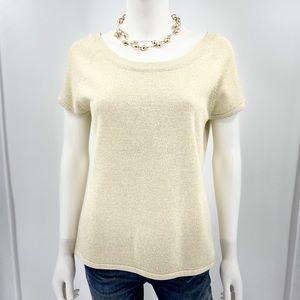 BOB MACKIE-Size M-Vintage Gold Shimmer Sweater Top